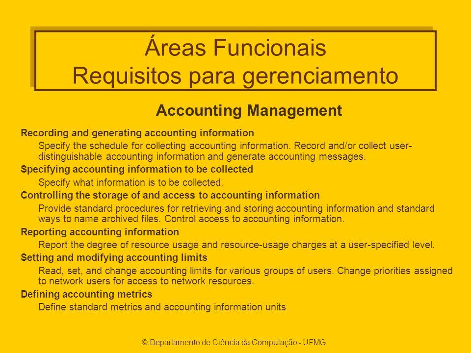 Áreas Funcionais Requisitos para gerenciamento