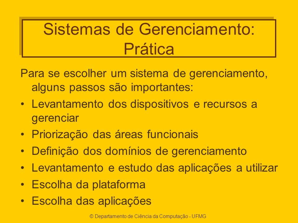 Sistemas de Gerenciamento: Prática
