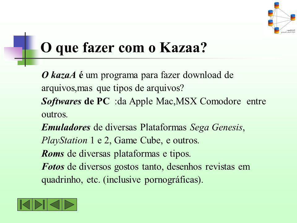 O que fazer com o Kazaa O kazaA é um programa para fazer download de