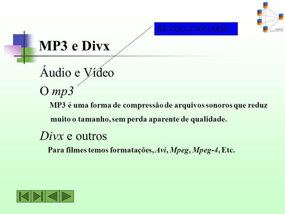 MP3 e Divx Áudio e Vídeo O mp3 Divx e outros REVOLUCIONÁRIO