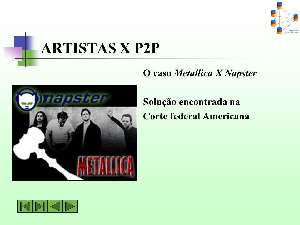 ARTISTAS X P2P O caso Metallica X Napster Solução encontrada na