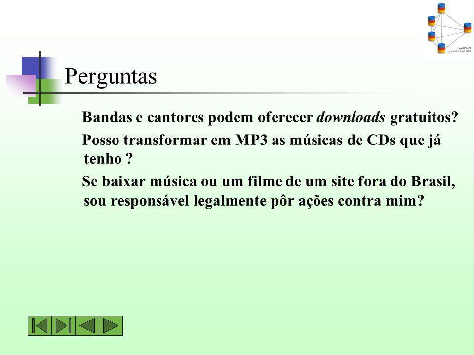 Perguntas Bandas e cantores podem oferecer downloads gratuitos