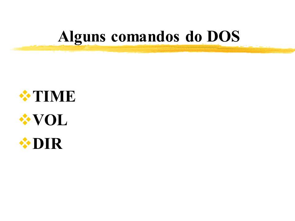 Alguns comandos do DOS TIME VOL DIR