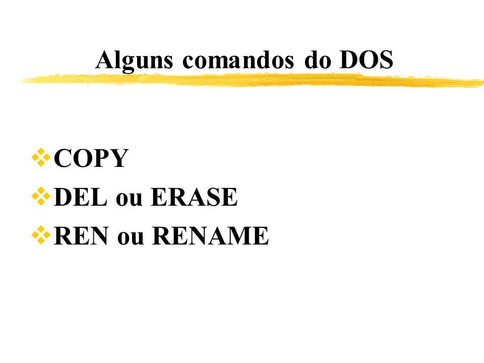 Alguns comandos do DOS COPY DEL ou ERASE REN ou RENAME