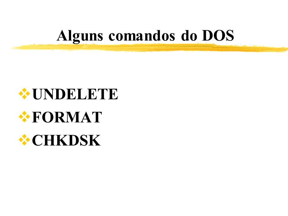 Alguns comandos do DOS UNDELETE FORMAT CHKDSK