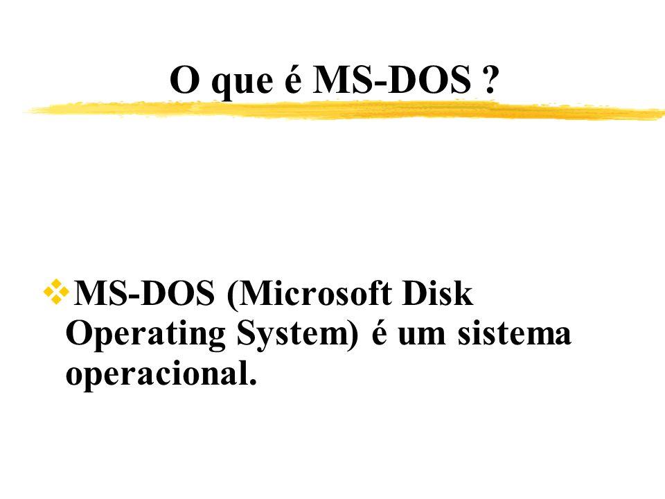 O que é MS-DOS MS-DOS (Microsoft Disk Operating System) é um sistema operacional.