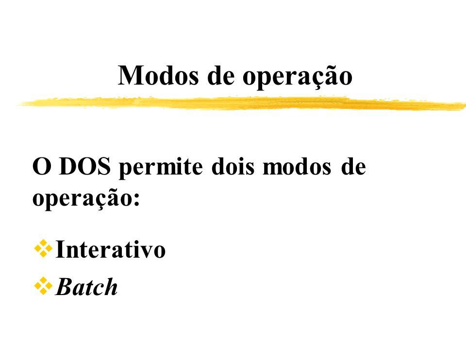 O DOS permite dois modos de operação: Interativo Batch