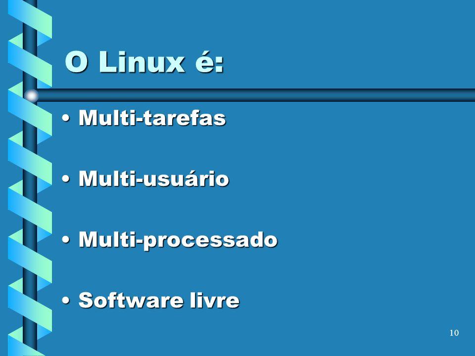 O Linux é: Multi-tarefas Multi-usuário Multi-processado Software livre