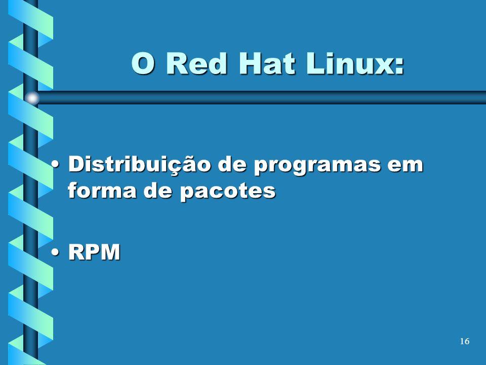 O Red Hat Linux: Distribuição de programas em forma de pacotes RPM