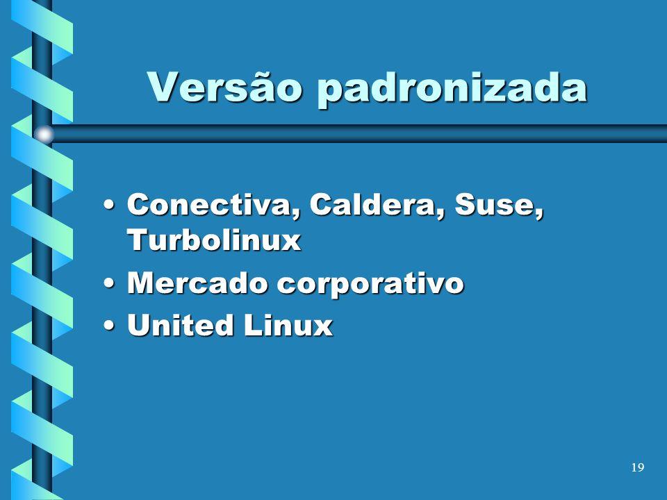 Versão padronizada Conectiva, Caldera, Suse, Turbolinux