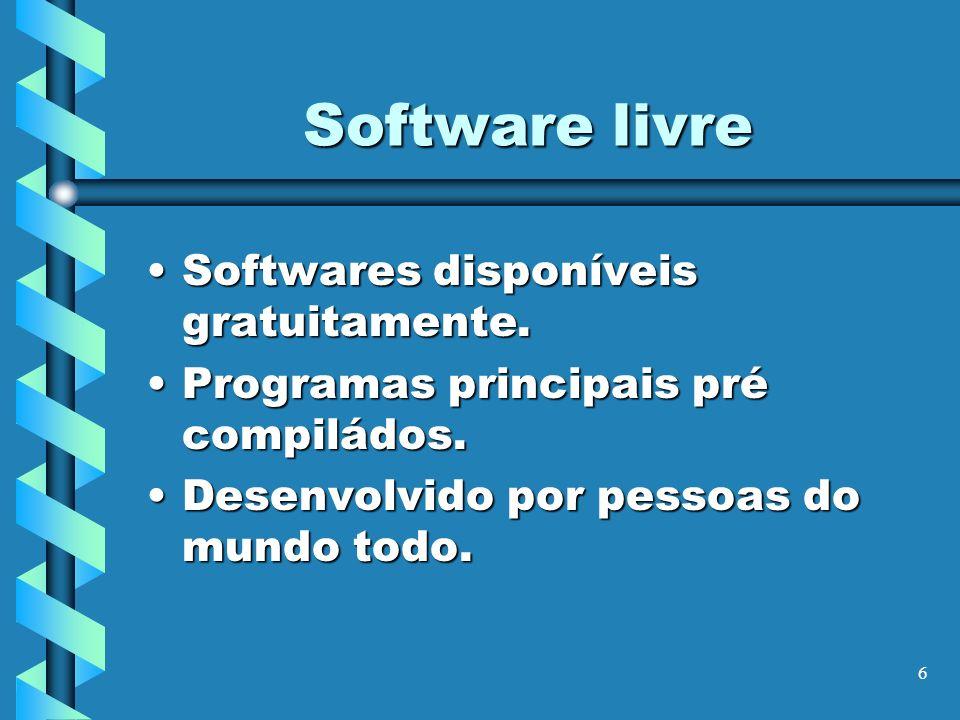 Software livre Softwares disponíveis gratuitamente.