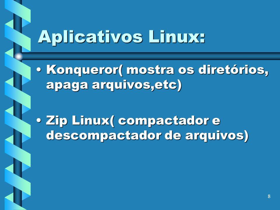 Aplicativos Linux: Konqueror( mostra os diretórios, apaga arquivos,etc) Zip Linux( compactador e descompactador de arquivos)