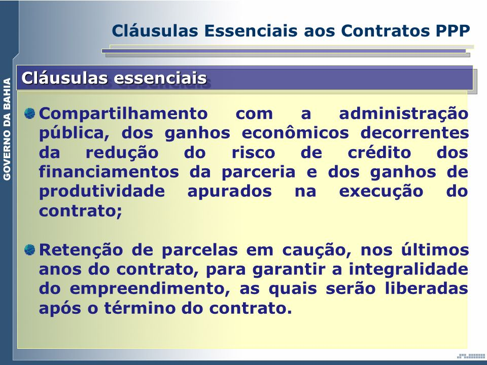 Cláusulas Essenciais aos Contratos PPP