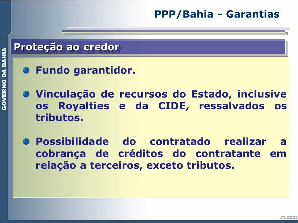 PPP/Bahia - Garantias Proteção ao credor Fundo garantidor.