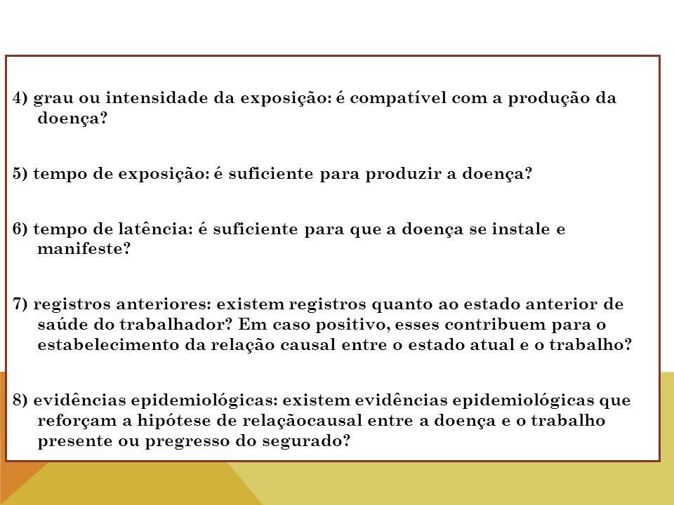 4) grau ou intensidade da exposição: é compatível com a produção da doença