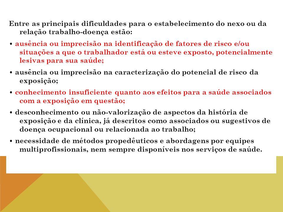 Entre as principais dificuldades para o estabelecimento do nexo ou da relação trabalho-doença estão: