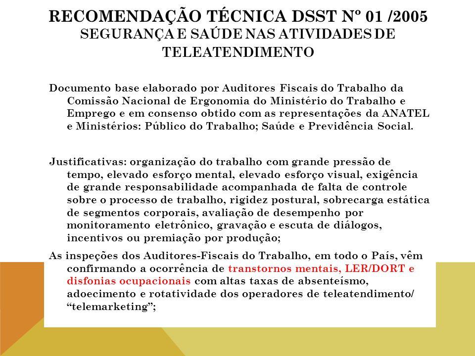 RECOMENDAÇÃO TÉCNICA DSST Nº 01 /2005 SEGURANÇA E SAÚDE NAS ATIVIDADES DE TELEATENDIMENTO