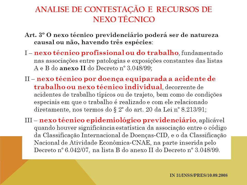 ANALISE DE CONTESTAÇÃO E RECURSOS DE NEXO TÉCNICO