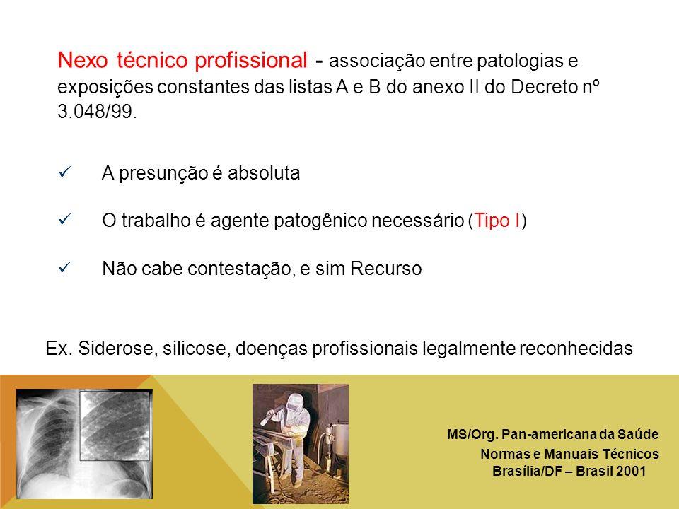 Nexo técnico profissional - associação entre patologias e exposições constantes das listas A e B do anexo II do Decreto nº 3.048/99.