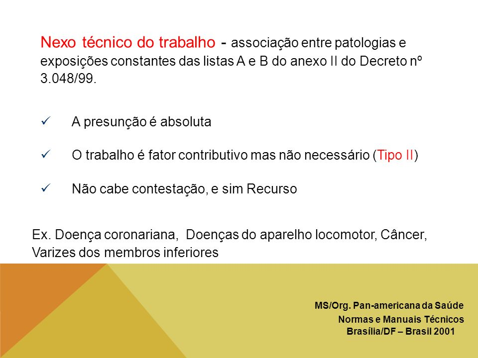 Nexo técnico do trabalho - associação entre patologias e exposições constantes das listas A e B do anexo II do Decreto nº 3.048/99.