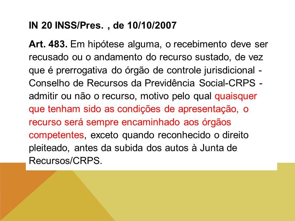 IN 20 INSS/Pres. , de 10/10/2007