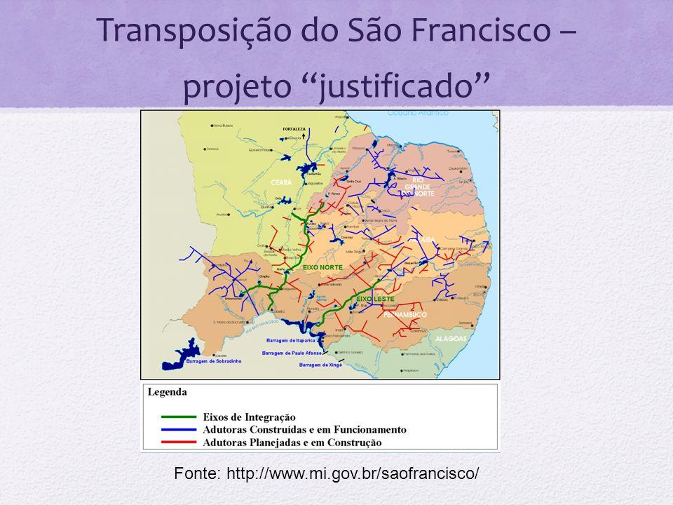 Transposição do São Francisco – projeto justificado