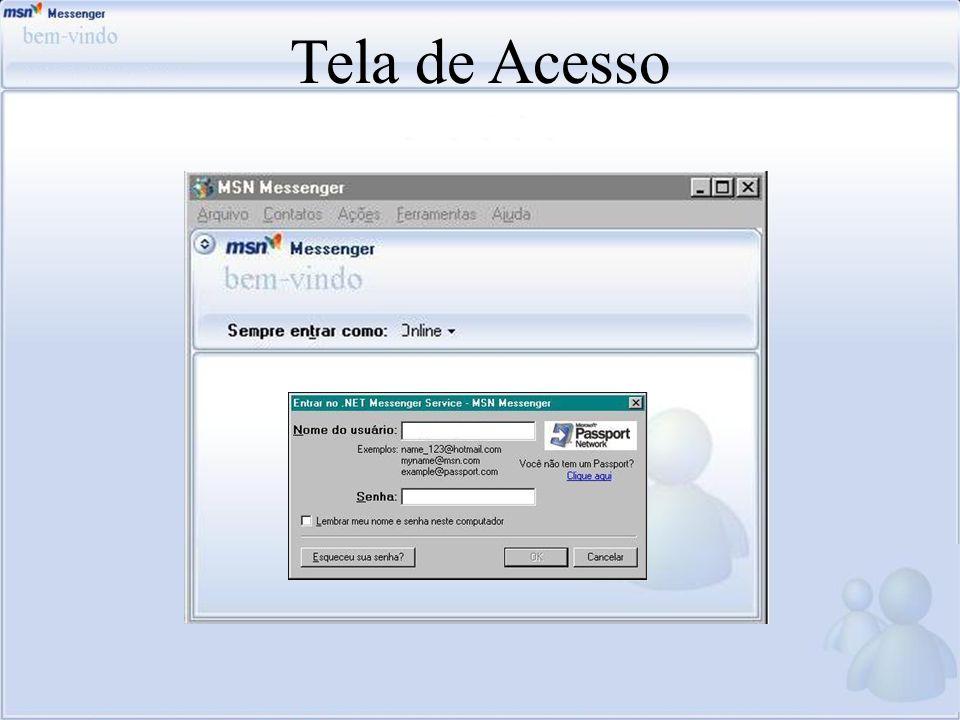 Tela de Acesso Falar um pouco sobre a tela de acesso, o local onde adiciona-se o login, e-mail, e a senha.