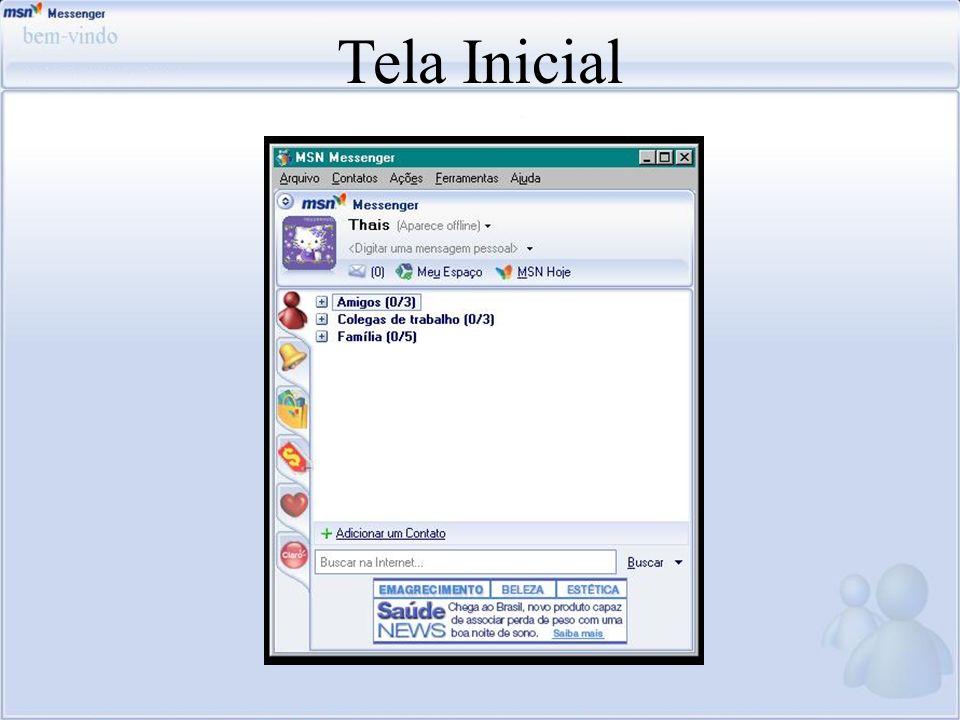 Tela Inicial Nessa tela pode-se observar quais contatos estao on-line o off-line.