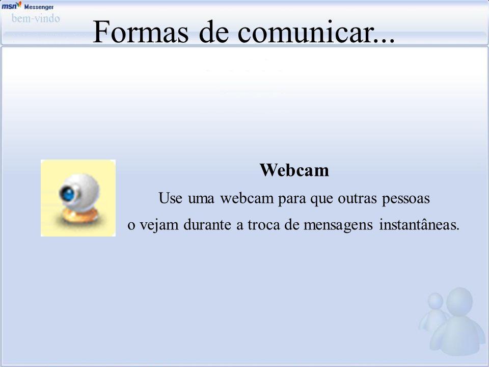 Formas de comunicar... Webcam Use uma webcam para que outras pessoas