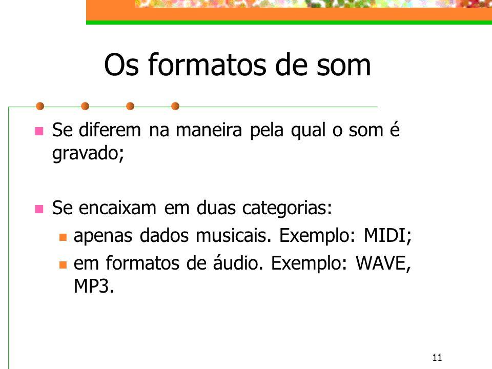 Os formatos de som Se diferem na maneira pela qual o som é gravado;