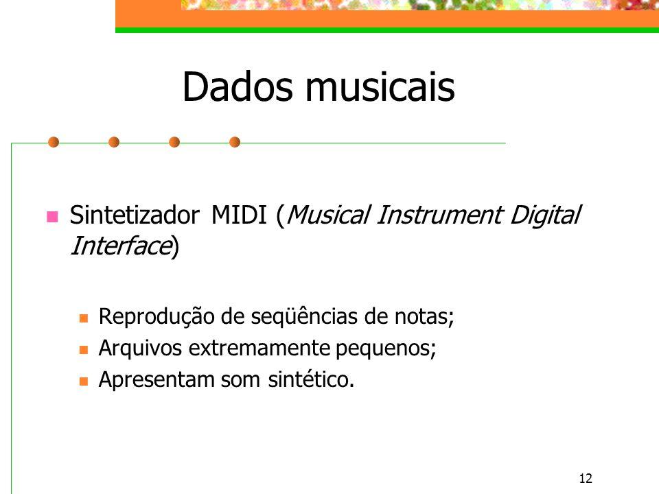Dados musicais Sintetizador MIDI (Musical Instrument Digital Interface) Reprodução de seqüências de notas;