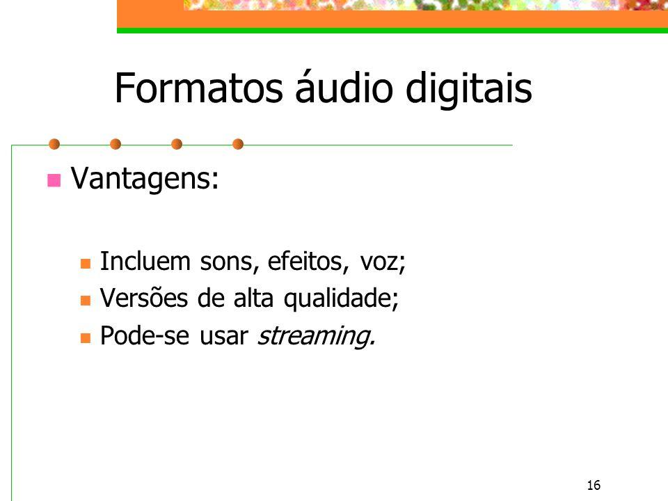 Formatos áudio digitais