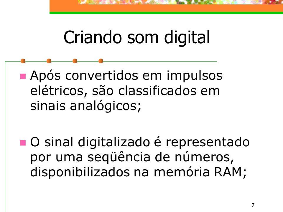 Criando som digital Após convertidos em impulsos elétricos, são classificados em sinais analógicos;