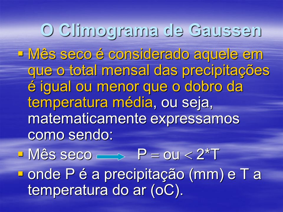 O Climograma de Gaussen