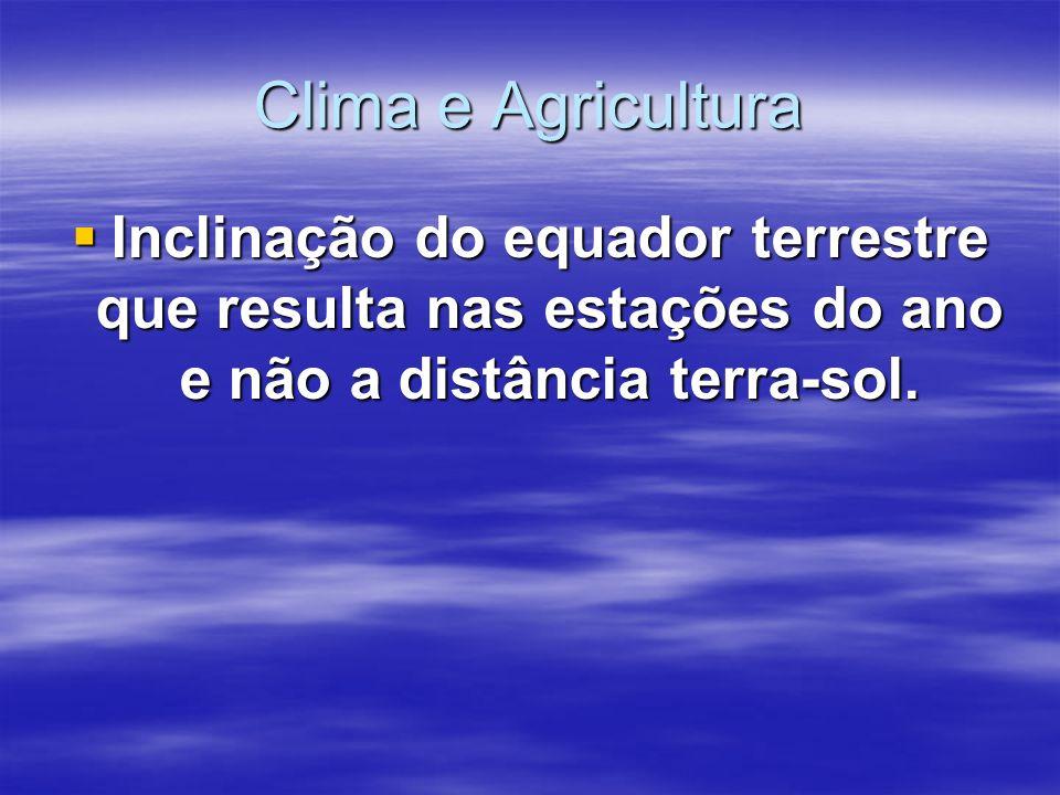Clima e Agricultura Inclinação do equador terrestre que resulta nas estações do ano e não a distância terra-sol.