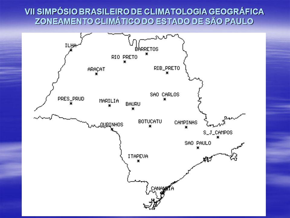 VII SIMPÓSIO BRASILEIRO DE CLIMATOLOGIA GEOGRÁFICA ZONEAMENTO CLIMÁTICO DO ESTADO DE SÃO PAULO