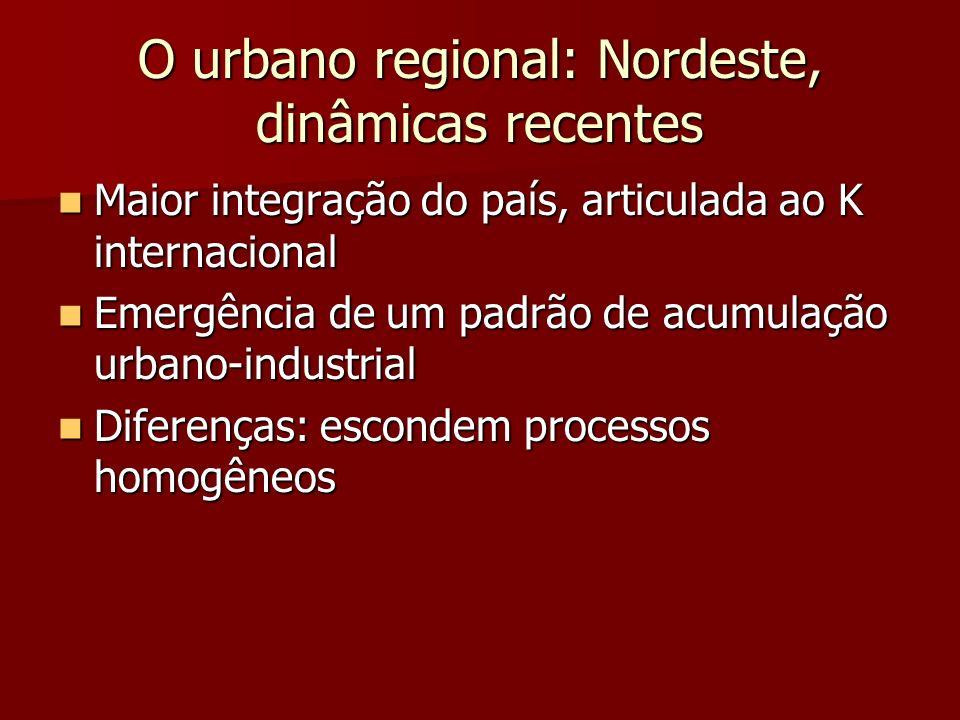 O urbano regional: Nordeste, dinâmicas recentes