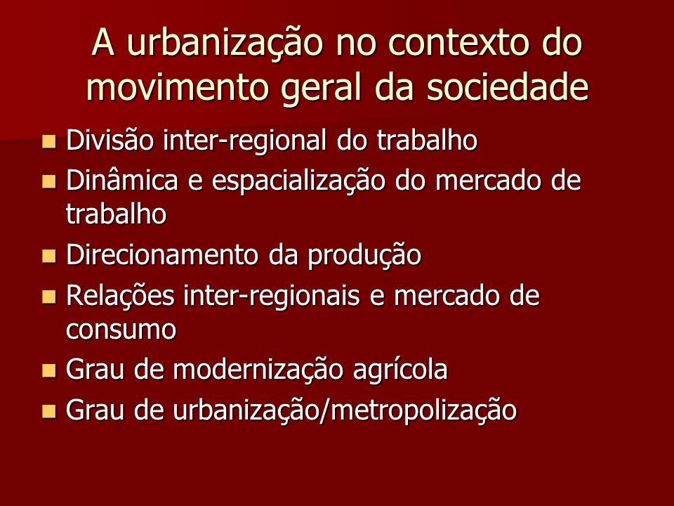 A urbanização no contexto do movimento geral da sociedade