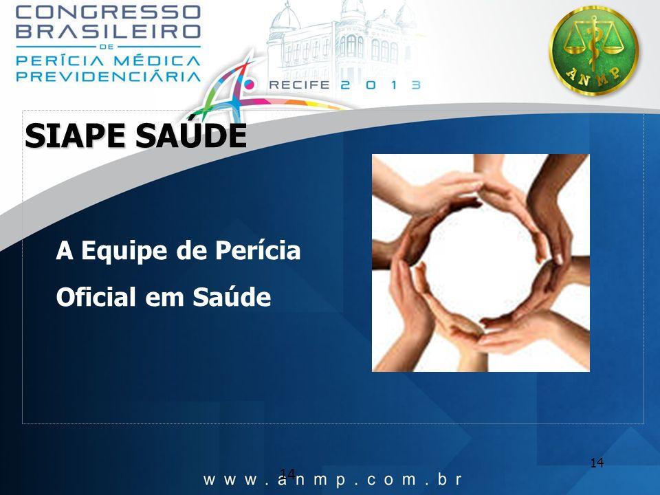 SIAPE SAÚDE A Equipe de Perícia Oficial em Saúde 14 14 14
