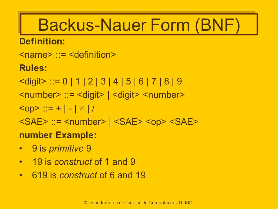 Backus-Nauer Form (BNF)