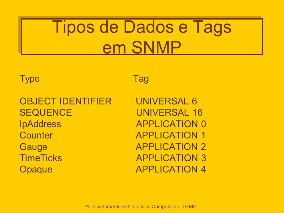 Tipos de Dados e Tags em SNMP