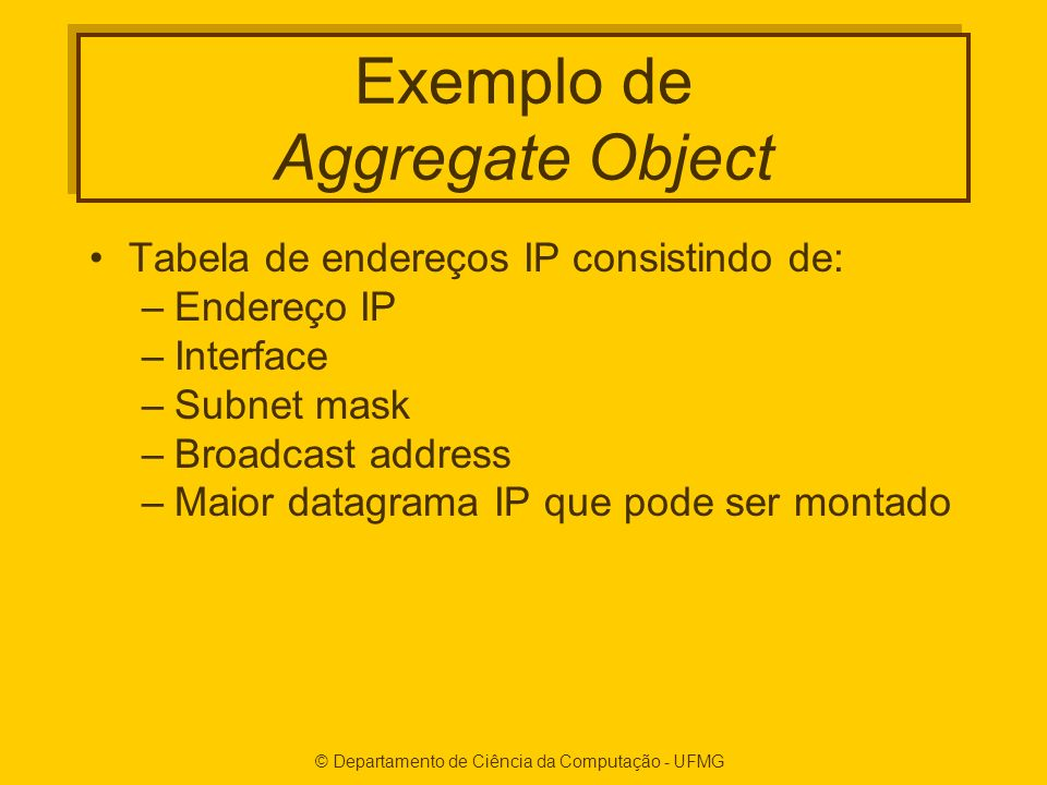 Exemplo de Aggregate Object