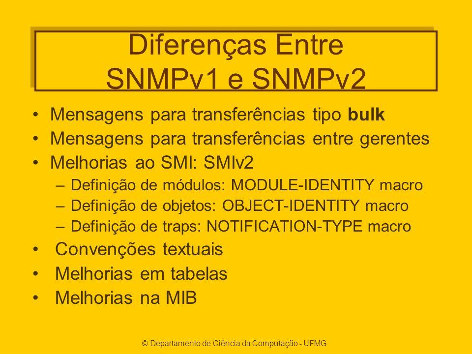 Diferenças Entre SNMPv1 e SNMPv2