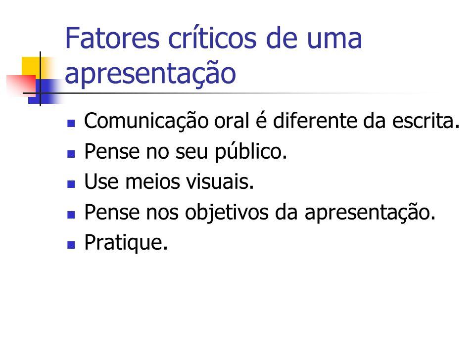 Fatores críticos de uma apresentação