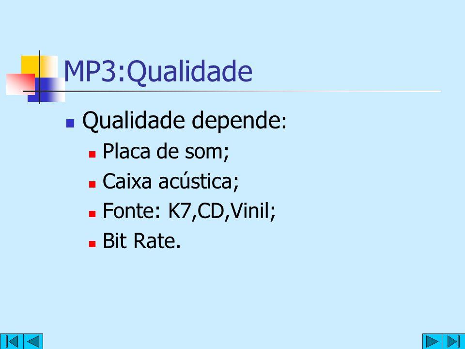 MP3:Qualidade Qualidade depende: Placa de som; Caixa acústica;