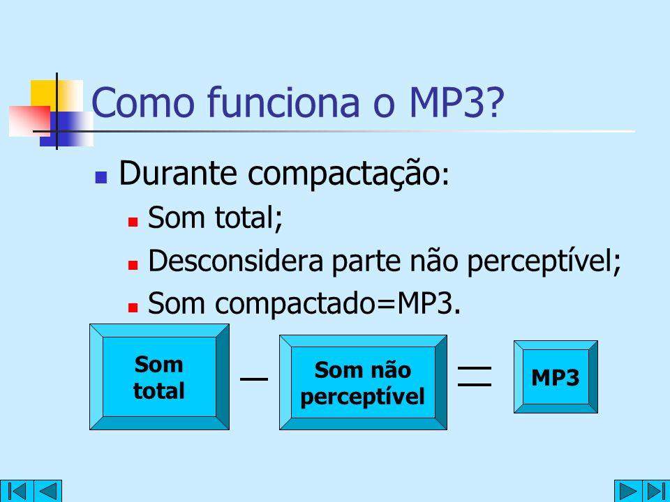Como funciona o MP3 Durante compactação: Som total;