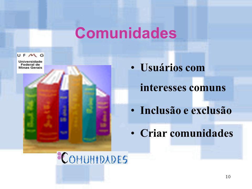 Comunidades Usuários com interesses comuns Inclusão e exclusão
