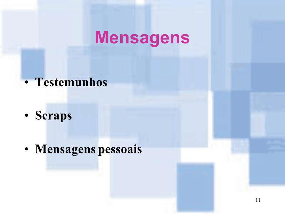 Mensagens Testemunhos Scraps Mensagens pessoais