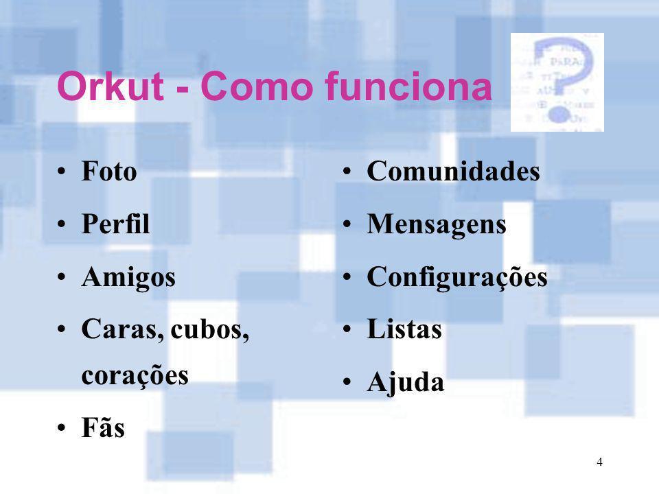 Orkut - Como funciona Foto Perfil Amigos Caras, cubos, corações Fãs