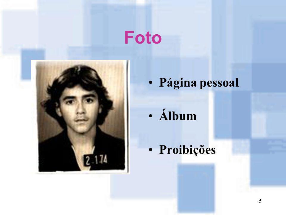 Foto Página pessoal Álbum Proibições